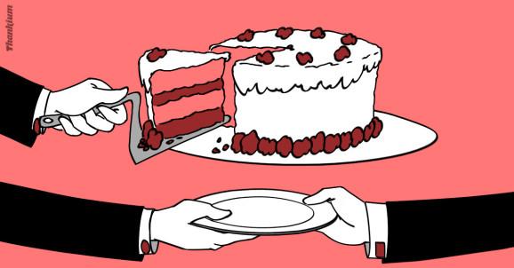 Ilustración El futuro de los negocios es compartir, por Thankium