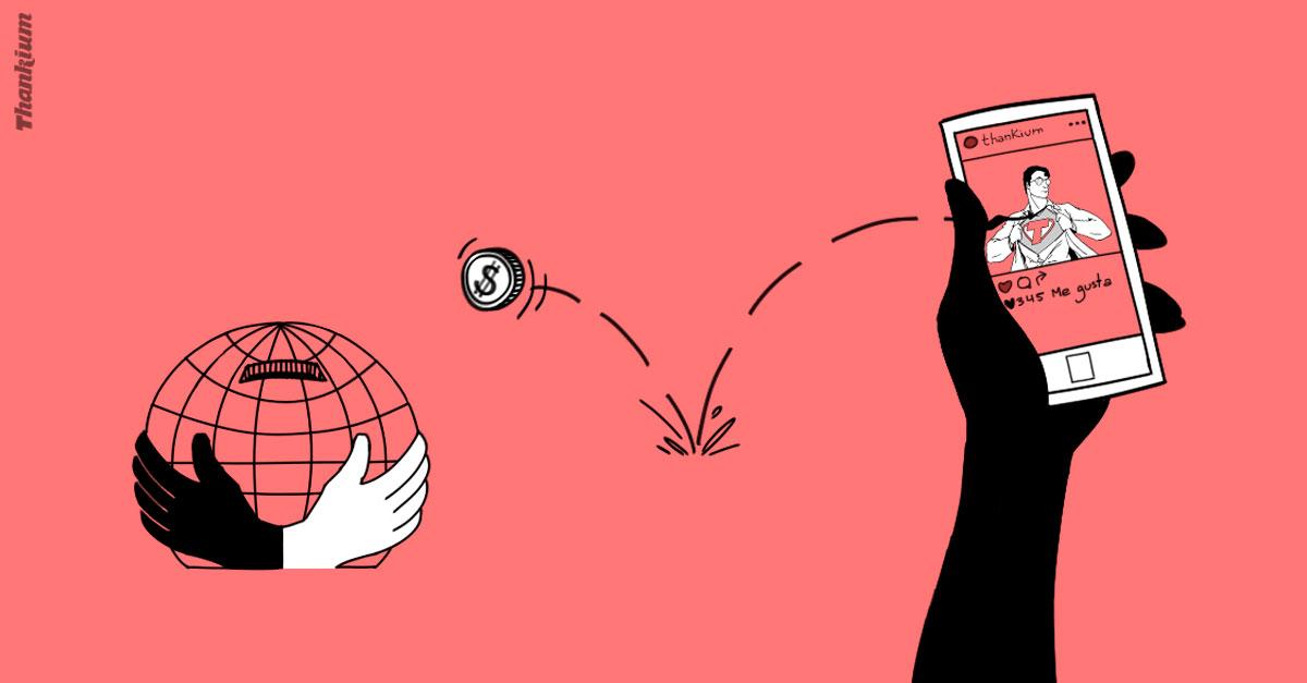 Ilustración Thankium, Manos Unidas compartir es que otros vivan
