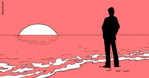 Ilustración Thankium, chico mirando al mar. Disfrutar de la vida