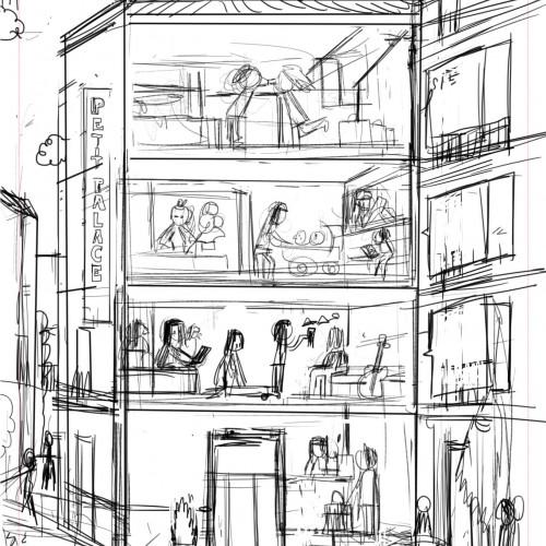 Gráfica Petit Palace boceto