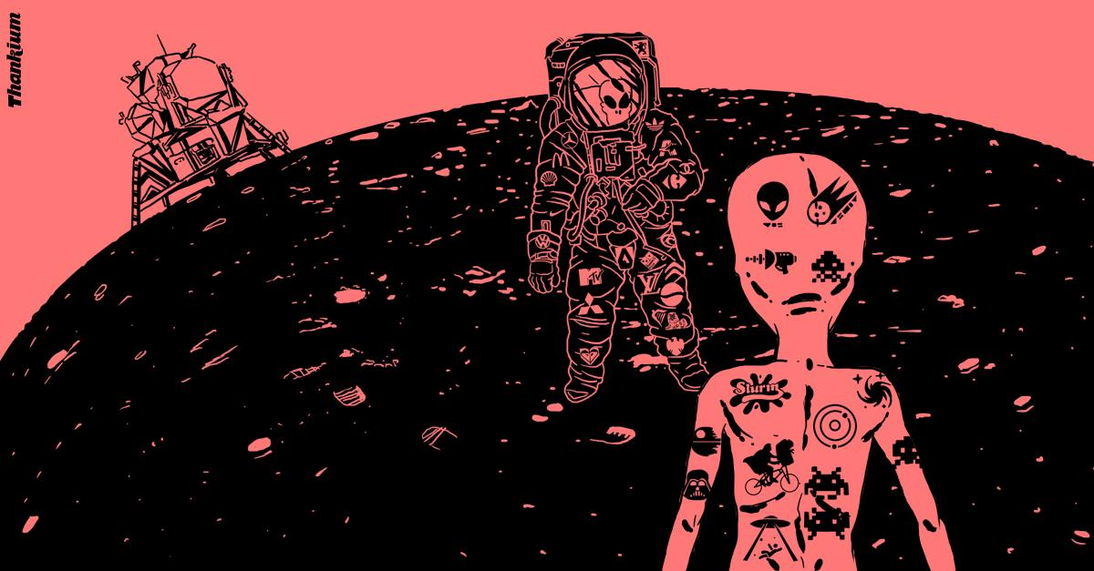 Ilustración de la agencia Thankium de la publicidad cósmica