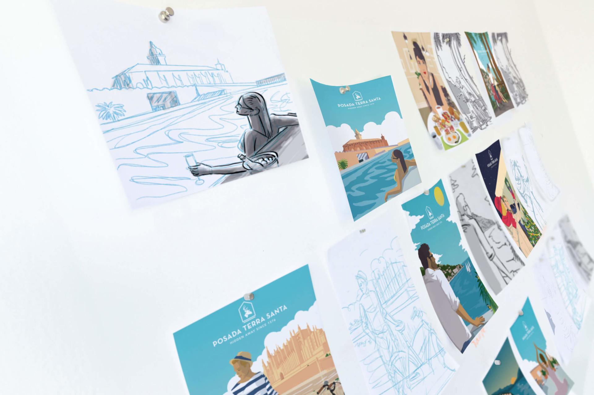 ilustraciones-posada-terra-santa-pizarra-bocetos